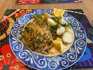 pan-seared halibut steaks with lemon caper crumb